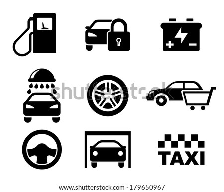 Black and white car service  icons logo depicting a fuel pump, security, battery, car wash, tyre, purchase, steering wheel , garage and taxi - stock vector