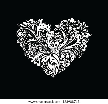 Black and white card with heart shape - stock vector