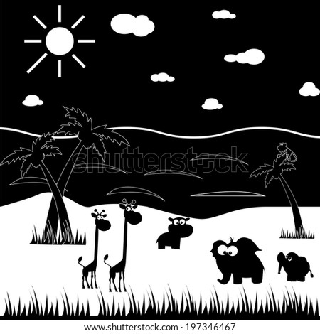 Black and white cartoon animals. Made in vector - stock vector