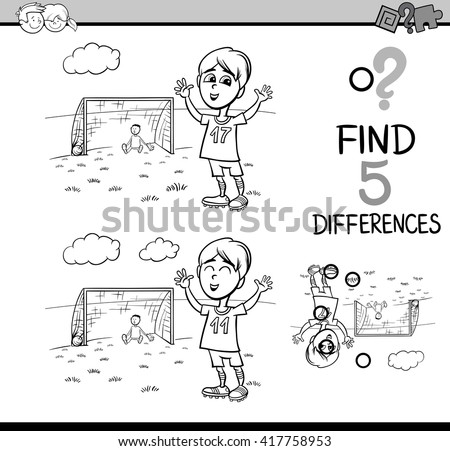 Black and White Cartoon Illustration of Finding Differences Educational Activity Task for Preschool Children with Boy Playing Soccer for Coloring Book - stock vector