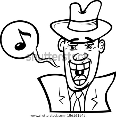 Black and White Cartoon Vector Concept Illustration of Man in Hat Singing in the Night - stock vector