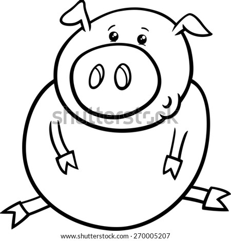 Black and White Cartoon Vector Illustration of Cute Baby Pig or Piglet Farm Animal for Coloring Book - stock vector