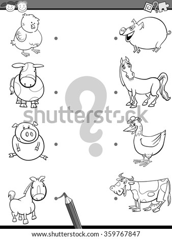 Black and White Cartoon Vector Illustration of Education Element Matching Task for Preschool Children with Baby Animals and their Mothers Coloring Book - stock vector