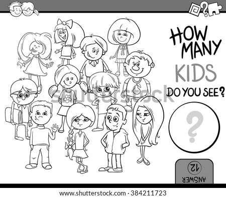 Black and White Cartoon Vector Illustration of Educational Counting or Calculating Task for Preschool Children with Kid Characters Coloring Book - stock vector