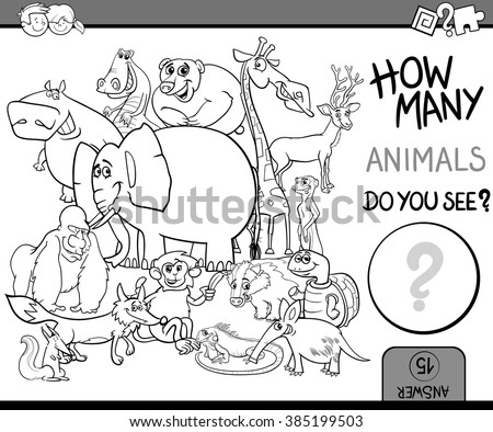 Black and White Cartoon Vector Illustration of Educational Counting Task for Preschool Children with Wildlife Animal Characters Coloring Book - stock vector