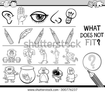 Black and White Cartoon Vector Illustration of Finding Improper Item in the Row Educational Game for Preschool Children with Characters and Objects - stock vector