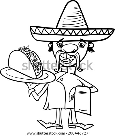 Black and White Cartoon Vector Illustration of Funny Mexican Chef or Waiter with Taco for Coloring Book - stock vector