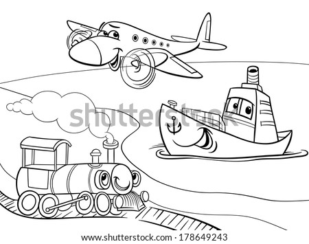 Black and White Cartoon Vector Illustration of Funny Plane and Train and Ship Transport Comic Characters Group for Coloring Book - stock vector
