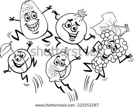 Black and White Cartoon Vector Illustration of Happy Jumping Fruits Food Characters for Coloring Book - stock vector