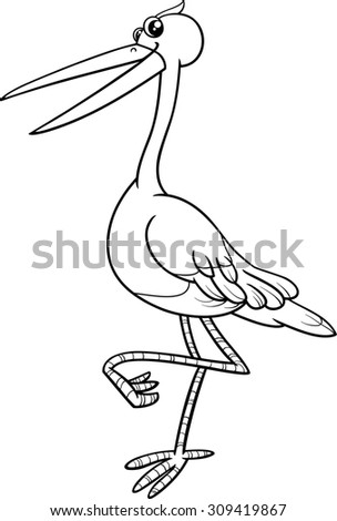 Black and White Cartoon Vector Illustration of Stork Bird Animal Character for Coloring Book - stock vector