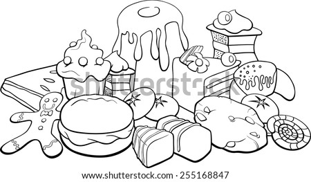 Black and White Cartoon Vector Illustration of Sweet Food like Cakes and Cookies for Coloring Book - stock vector