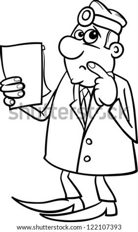 Black and White Cartoon Vector Illustration of Thinking Male Medical Doctor with Writing Board - stock vector