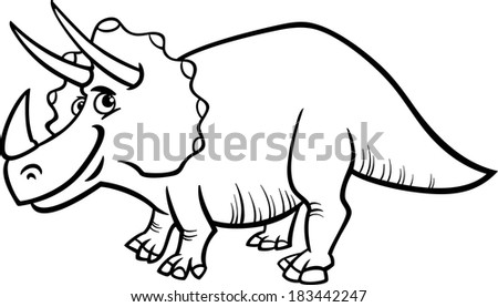 Black and White Cartoon Vector Illustration of Triceratops Prehistoric Dinosaur for Coloring Book - stock vector