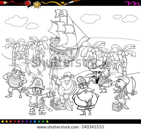 Black and White Cartoon Vector Illustrations of Fantasy Pirate Characters on Treasure Island for Coloring Book - stock vector