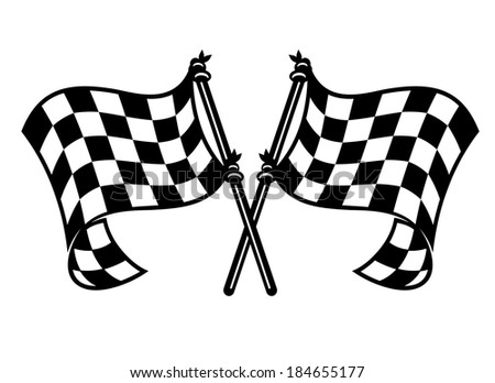 Black and white checkered motor sports flags logo curling in the breeze with crossed flagpoles - stock vector