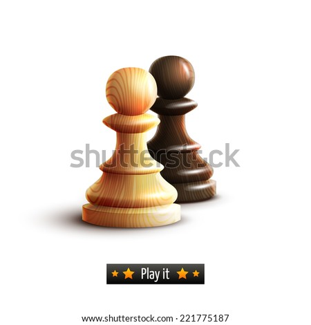 Black and white chess pawns realistic isolated on white background vector illustration - stock vector