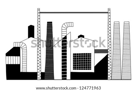 Black and White Chimneys of a Factory - vector illustration - stock vector