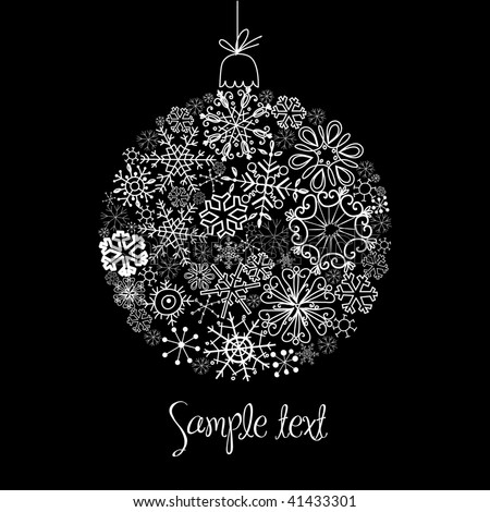 Black and White Christmas ball illustration. - stock vector