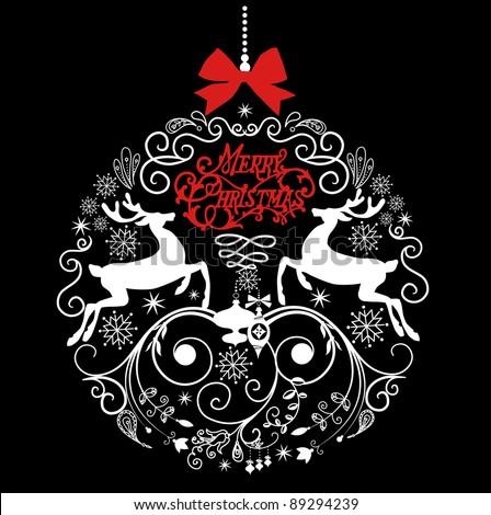 Black and White Christmas ball illustration. - stock vector