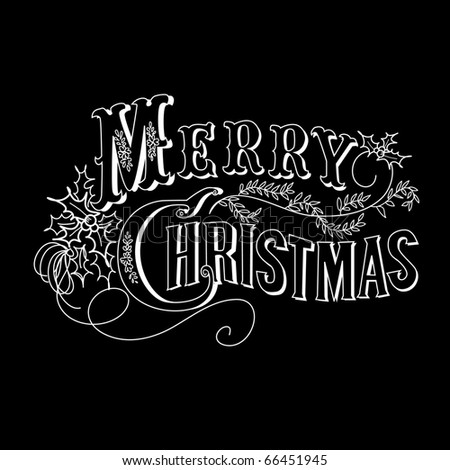 Black and White Christmas Card. Merry Christmas lettering - stock vector