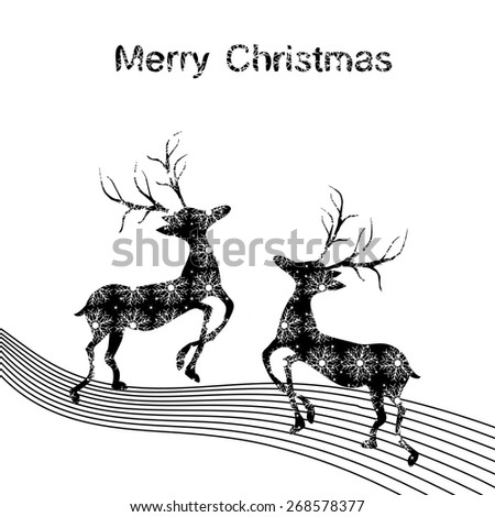 Black and white Christmas deer made of snowflakes with stars - stock vector