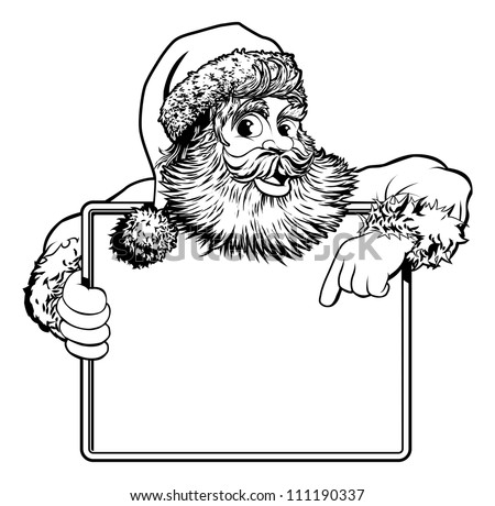 Black and white Christmas illustration of Santa holding and pointing at a sign - stock vector