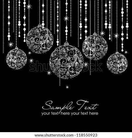 Black and White Christmas ornaments - stock vector