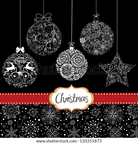 Black and White Christmas ornaments. Card template - stock vector