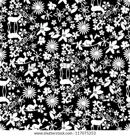Black and white christmas pattern - stock vector