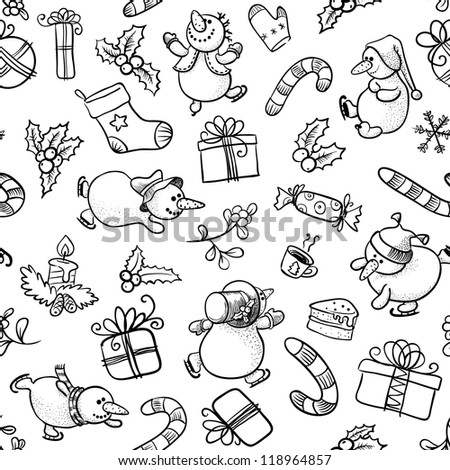 Black and white Christmas seamless with Snowman - stock vector