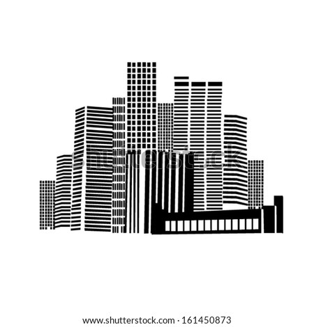black and white city. - stock vector