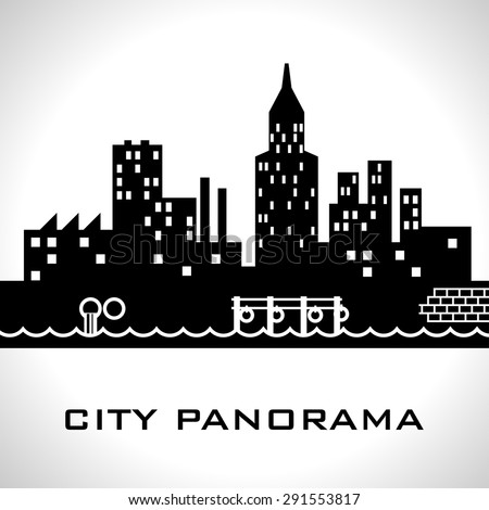 Black and white city panorama - stock vector