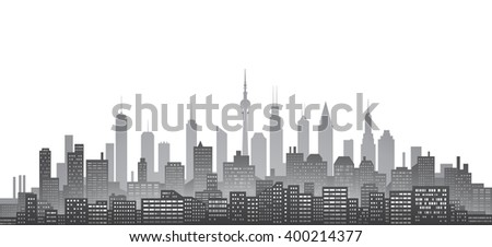 Black and white city skyline with urban skyscrapers - stock vector