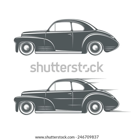 Black and white classic car icon. Vector illustration - stock vector