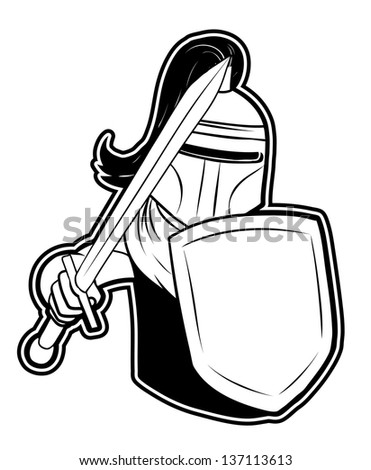 black and white clipart knight - stock vector