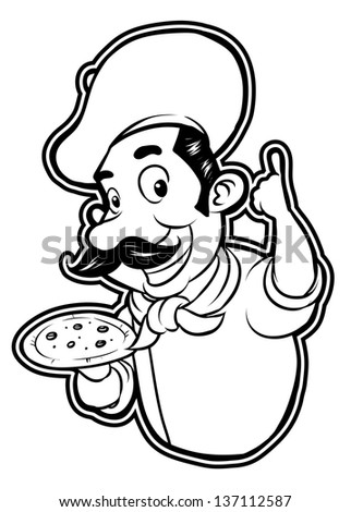black and white clipart pizza chef - stock vector