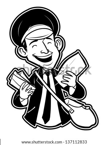 black and white clipart postman - stock vector