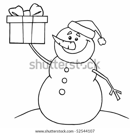 Black And White Coloring Page Outline Of A Snowman Holding A Gift - stock vector