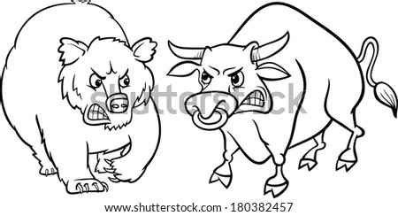 Black and White Concept Cartoon Vector Illustration of Bear Market and Bull Market Stock Trends - stock vector
