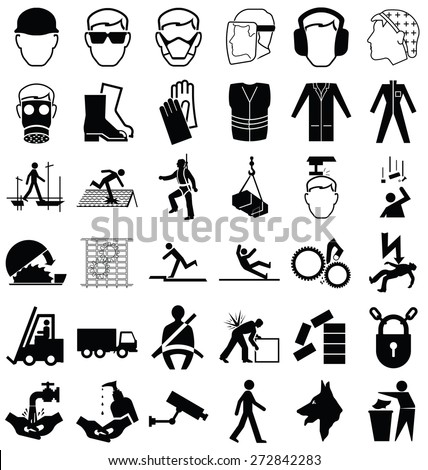 Black and white construction manufacturing and engineering health and safety related graphics set isolated on white background - stock vector