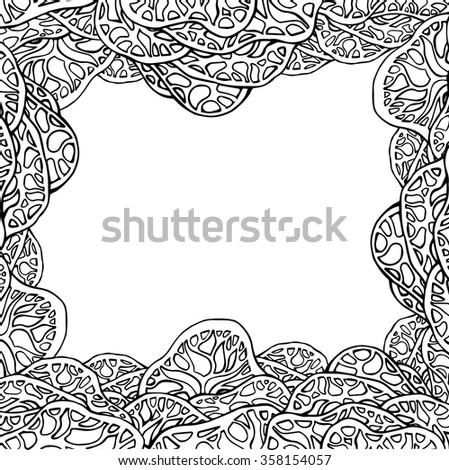 Black and white cover with lace doodle trees and place for text for your creativity - stock vector