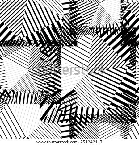 Black and white creative continuous lines pattern, contrast motif abstract striped background. - stock vector