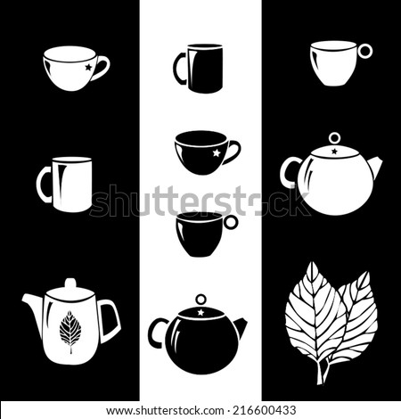 Black and white cups and kettles (teapots) with tea leaves on the background - stock vector