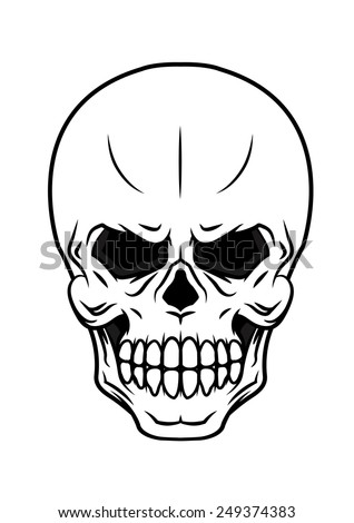 Black and white danger vector cartoon skull icon with teeth suitable for Halloween, horror tattoo or piracy concepts - stock vector