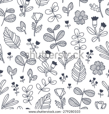 Black and white decorative floral seamless pattern - stock vector