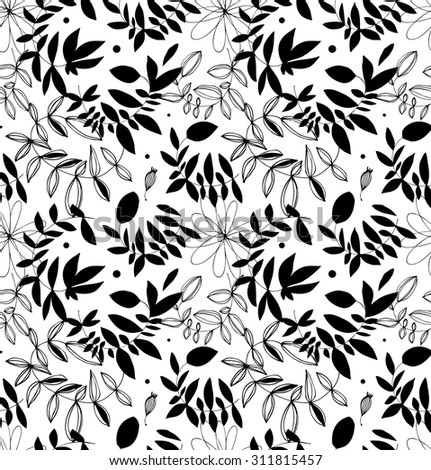 Black and white decorative florish seamless pattern. Vector background with leaves and branches - stock vector