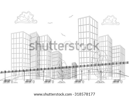 Black and white design big modern city with skyscrapers - stock vector