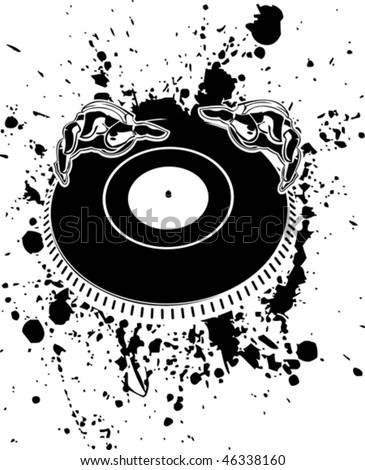 Black And White DJ Hands On Stain. - stock vector