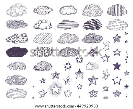 Black and white Doodle clouds, stars set pattern. Monochrome collection of decorative cute details for adult, children coloring book page. Hand drawn vector illustration, separated elements. - stock vector