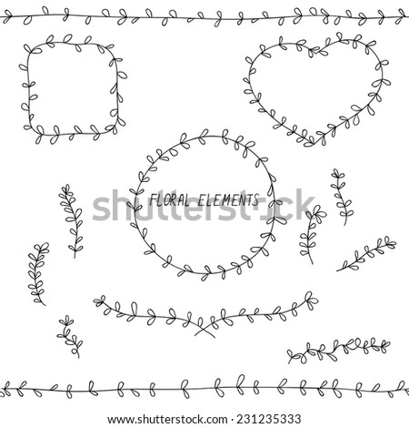 black and white doodle floral elements - stock vector